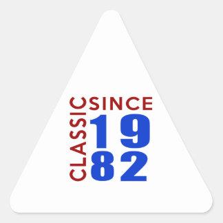 Classice Since 1982 Birthday Designs Triangle Sticker