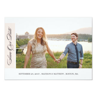 "Classicly Chic | Save the Date Photo Card 5"" X 7"" Invitation Card"