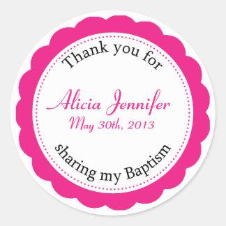 Classique Baptism Berry Pink Round Sticker
