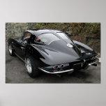 Classique fendu Corvette de fenêtre de noir Affiches
