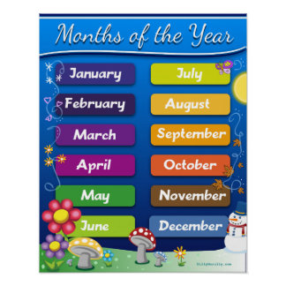 Classroom Decor - Months of they Year Poster