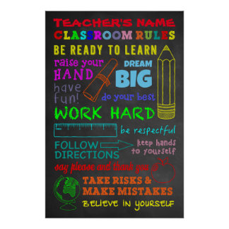 Classroom Rules —Personalized Teacher's Gift Poster