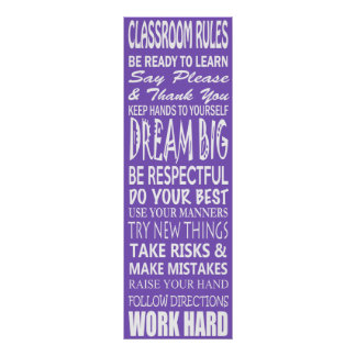 "Classroom Rules Poster (Purple), 12"" x 36"""