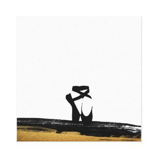 Classsic Dance Ballet Shoes Black Gold Painting Canvas Print