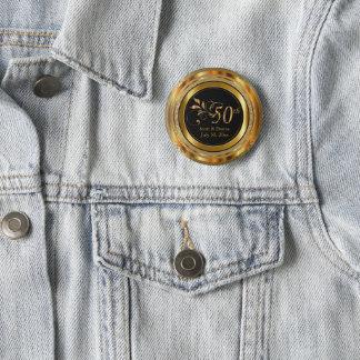 Classy 50th Golden Wedding Anniversary 2 Inch Round Button