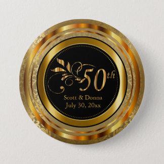 Classy 50th Golden Wedding Anniversary 3 Inch Round Button