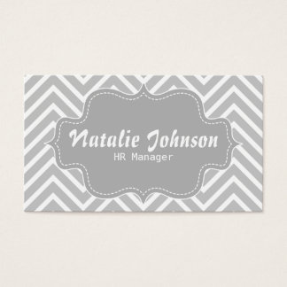 Classy and Elegant, grey and white chevron pattern Business Card