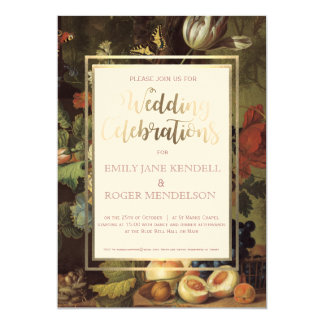 Classy Antique Fruit Still Life Wedding Invitation