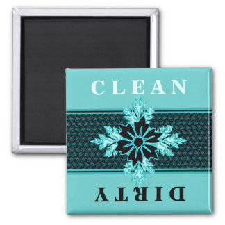 Classy Aqua and Black Floral Dishwasher Magnet