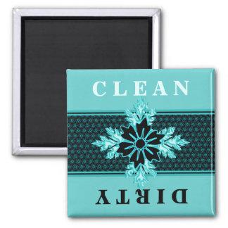 Classy Aqua and Black Floral Dishwasher Square Magnet