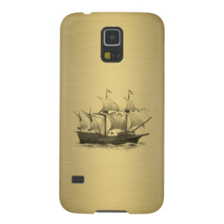 Classy attractive Golden look Ancient ship Cases For Galaxy S5