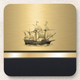 Classy attractive Golden look Ancient ship Drink Coasters