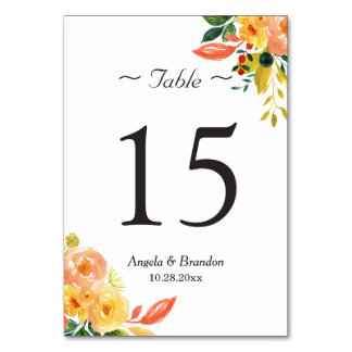 Classy Autumn Peach Floral Wedding Table Number