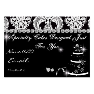 CLASSY BAKERY Business Card Black & White Damask