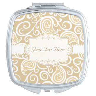 Classy Beige and White Swirls Mirror For Makeup