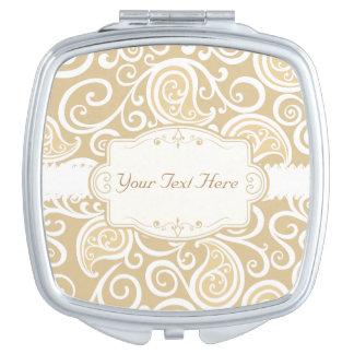 Classy Beige and White Swirls Vanity Mirror