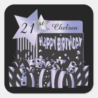 Classy Birthday | DIY Name & Age | Purple Square Sticker