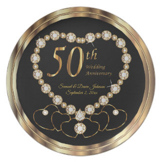 Classy Black and Gold 50th Golden Anniversary Plate
