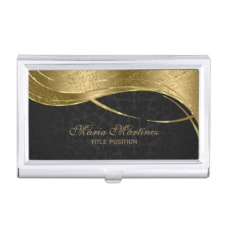 Classy Black And Gold Damask Business Card Holder