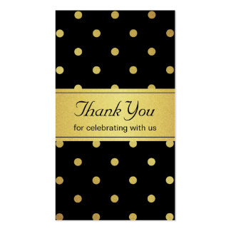 Classy Black and Gold Glitter Polka Dots Thank You Pack Of Standard Business Cards
