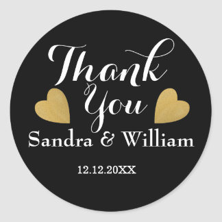 Classy Black And Gold Hearts Wedding Thank You Round Sticker