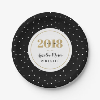 Classy Black and Gold Personalized Graduation Paper Plate