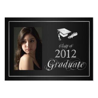Classy Black and Silver 2012 Graduate Photo Invite