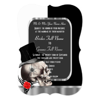 "Classy black and white gothic skull wedding 5"" x 7"" invitation card"