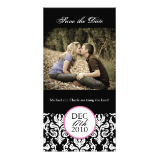 Classy Black and White Save the Date Photocard Card