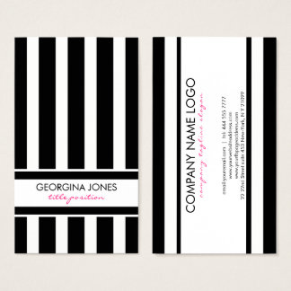 Classy Black And White Stripes Pattern Business Card