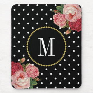 Classy Black Antique Floral Polka Dots Monogram Mouse Pad