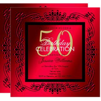 Classy Black & Cerise Women's 50th Birthday Card
