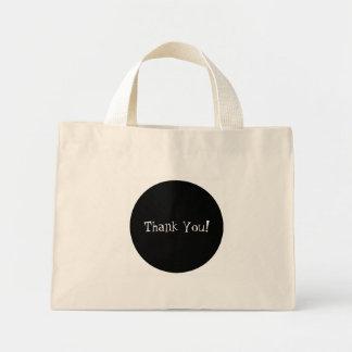 Classy Black Circle White Thank You Party Favor Mini Tote Bag