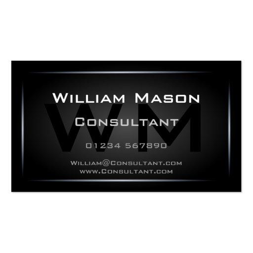 Classy Black Framed Monogram Professional Business Card Templates