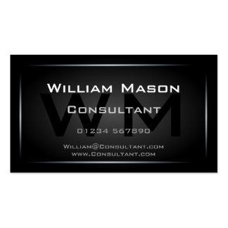 Classy Black Framed Monogram Professional Pack Of Standard Business Cards