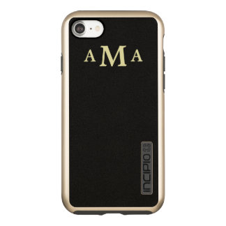 Classy Black Gold Monogram Incipio DualPro Shine iPhone 7 Case