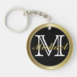 Classy Black Gold Styled Monogrammed Name Keychain
