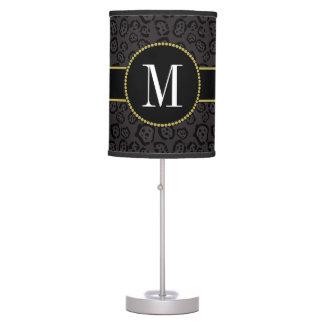 Classy Black Panther Jaguar Gray Gold Monogram Table Lamp