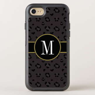 Classy Black Panther Leopard Cool Gold Monogram OtterBox Symmetry iPhone 8/7 Case