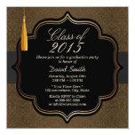 "Classy Black Ribbon Brown Damask Graduation Party 5.25"" Square Invitation Card"