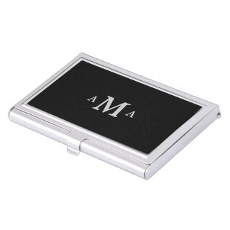 Classy Black Silver Monogram Business Card Holder
