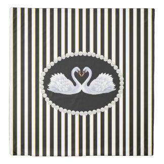 Classy Black Stripes Pearls & Swans Duvet Cover