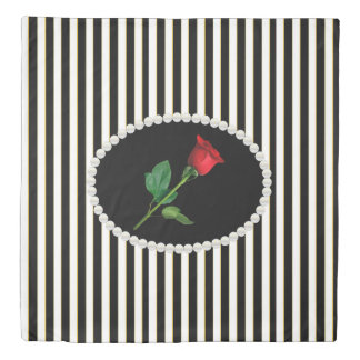 Classy Black Stripes & Red Rose Duvet Cover
