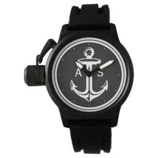 Classy Black White Anchor   Nautical Gifts Watches