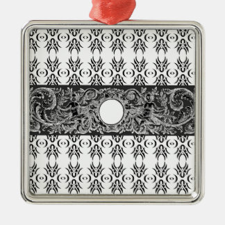 Classy black white Baroque pattern to customise Metal Ornament
