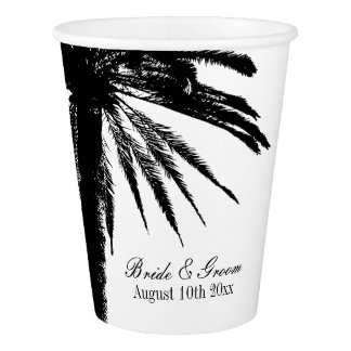 Classy black & white destination wedding party cup paper cup
