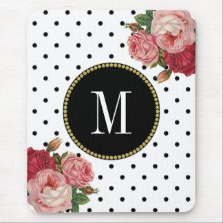 Classy Black White Dots Antique Floral Monogram Mouse Pad