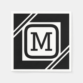 Classy Black & White Simple Square Lined Monogram Disposable Napkin