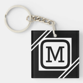 Classy Black & White Simple Square Lined Monogram Keychain