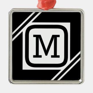 Classy Black & White Simple Square Lined Monogram Metal Ornament